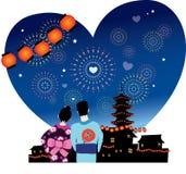 Romance japonês do festival do verão Fotografia de Stock Royalty Free
