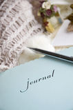Romance journal. Close up lady's journal in romance room Stock Photo