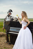 Romance Knightly/mariée/piano Images libres de droits