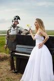 Romance Knightly/mariée/piano Images libres de droits