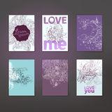 Romance linear art with love collection Royalty Free Stock Images