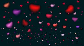 Romance Love Hearts Rose Petals Blurred Confetti Royalty Free Stock Images