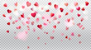 Romance Love Hearts Rose Petals Transparent Stock Photography