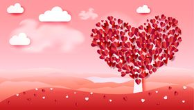 Romance love Valentines Day tree hearts petals landscape. Valentines Day tree, Mother`s day, women`s day, holiday, birthday, anniversary, wedding day, romantic Stock Photo