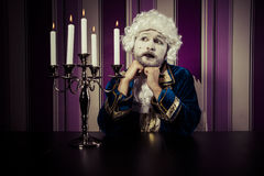 Romance, man dressed in rococo style, concept of wealth and pove Royalty Free Stock Images