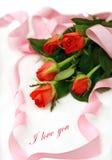 Romance mit Rosen und Liebesmeldung Stockbilder