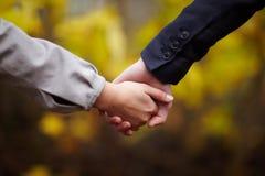 Romance - mãos da terra arrendada dos pares na queda Fotos de Stock