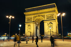 Romance night view from Arc de Triomphe, Paris, France Stock Photography