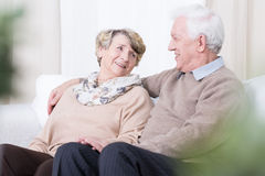 Romance in old age. Senior people having romance in old age Royalty Free Stock Photos