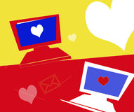 Romance online. Illustration depicting online romance/dating royalty free illustration