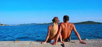 Romance par la mer Photos libres de droits