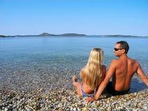 Romance pelo mar Imagem de Stock
