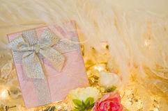Romance pink gift box Stock Photos