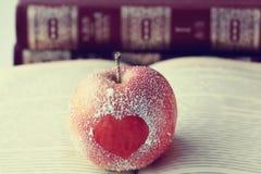 Romance, pomme, coeur, symbole, le livre Photo stock