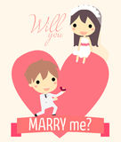 Romance propose couple. Cute couple in big heart.with ring for propose and text will you marry me Stock Photo