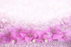 Romance Purple flower Bougainvillea frame on bokeh glitter background idea for valentine or wedding invitation card Royalty Free Stock Photos