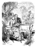 Flirting at the restaurant, vintage illustration. Romance at the restaurant: young man courting a shy girl in a booth, vintage engraving royalty free illustration