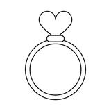Romance rings love heart wedding symbol outline Royalty Free Stock Images