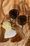 Romance, rose, heart, glasses of red wine stock photo