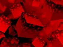 romance rouge d'amour de jour de valentines de backgound de coeur du cube 3d illustration de vecteur