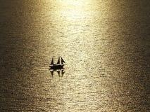 Romance sailing. Sailing into the sunset. Greece royalty free stock photos