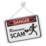 Romance Scam danger sign over white. Romance Scam danger sign, A black and white danger hanging sign with text Romance Scan and theft icon isolated over white royalty free illustration