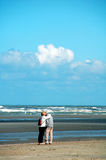 Romance at sea. Couple kissing on the beach,belgium Royalty Free Stock Photography