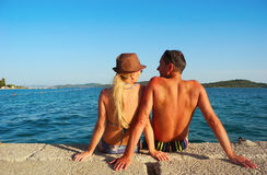 Romance by the sea. Loving couple near the sea in summer stock image