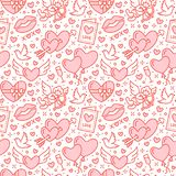 Romance seamless pattern. Love, wedding flat line icons - hearts, chocolate, kiss, Cupid, doves, valentine day card. Red. White wallpaper for february 14 Royalty Free Stock Photography