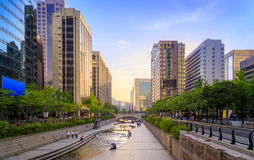 Romance Stream Sunset In Seoul City Royalty Free Stock Images