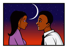 Romance sunset. Cartoon vector illustration of a romance sunset royalty free illustration