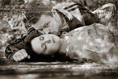 Romance superior do telhado Fotos de Stock Royalty Free
