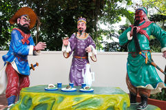 Romance of the Three Kingdoms. A photo taken on the tableaux of a scene from the Romance of the Three Kingdoms at Haw Par Villa in Singapore. Liu Bei, Guan Yu Stock Photography