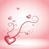 Romance twigs. Red romance twigs with hearts on the pink background Royalty Free Stock Images