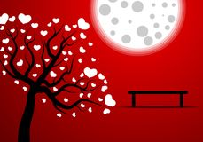 Romance under the moon. Vector art illustration Stock Photo
