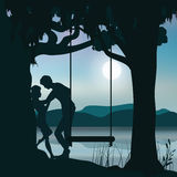 Romance Under the Moon, Vector illustrations. People Stock Photo