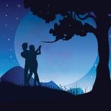Romance unter dem Mond, Vektorillustrationen Stockfotografie