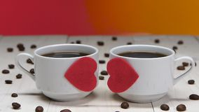 Romance for Valentine Day. Couple of lovers cups of coffee stock footage