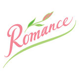 Romance. Valentines Day abstract vector word inscription with flower Stock Image