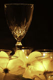 Romance - Wine, Candlelight, and Flowers Stock Photo