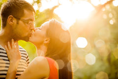 Romance - young couple hugging Stock Photography