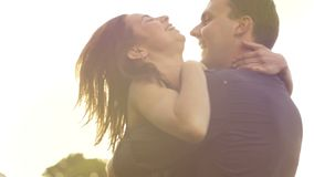 Romance of a young couple in love park sunset slow motion lifestyle stock video footage