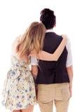 romancing一对女同性恋的夫妇的背面图 库存照片