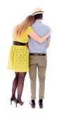 romancing一对女同性恋的夫妇的背面图 免版税图库摄影
