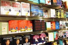 Romaner och fiktioner i boklager royaltyfria bilder