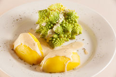 Romanesco with boiled potatoes Stock Photo