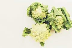 Romanesco Brassica Oleracea, rzymski kalafior odizolowywaj?cy na bia?ym tle z przestrzeni? dla teksta obrazy royalty free