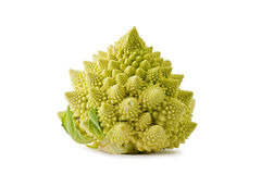 Romanesco Broccoli (Brassica oleracea). Whole romanesco broccoli, or roman cauliflower, against a white background Stock Photos