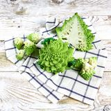 Romanesco broccoli cabbage marco. Nature fractal surface with spital pattern, close-up shot, selective focus royalty free stock photos