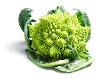 Romanesco Broccoli or Cauliflower on White Background. A romanesco broccoli, also known as a romanesco cauliflower, on a white background. The vegetable's spikes Stock Photo